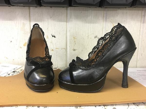 Női platformos,csipkés pumps